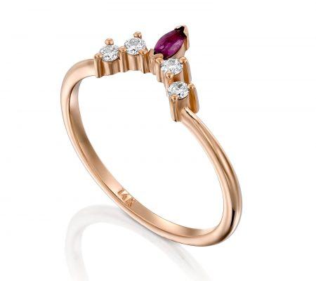 טבעת יהלומים ורובי כתר ADR-00402-2